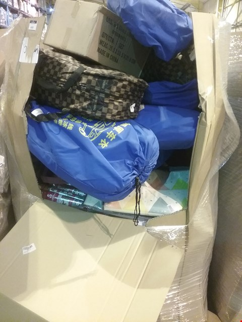 Lot 6039 LARGE PALLET OF ASSORTED ITEMS INCLUDING, CAR COVERS, GLASS CHRISTMAS TREE ORNAMENTS, BABY CHANGING MATS, ROLLS CHRISTMAS WRAPPING PAPER, SCRATCH OFF WORLD TRAVEL MAPS. CAR SEAT COVERS.