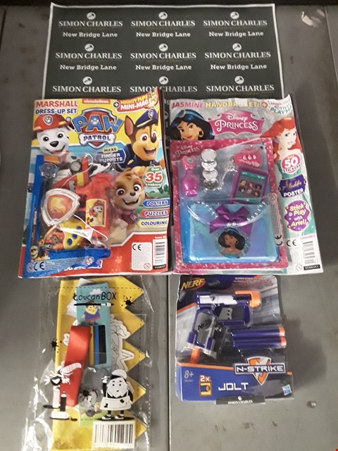 Lot 594 LOT OF 4 ASSORTED ITEMS TO INCLUDE A NERF N-STRIKE JOLT GUN, A TOUCAN CRAFT BOX, A PAW PATEOL MAGAZINE ETC