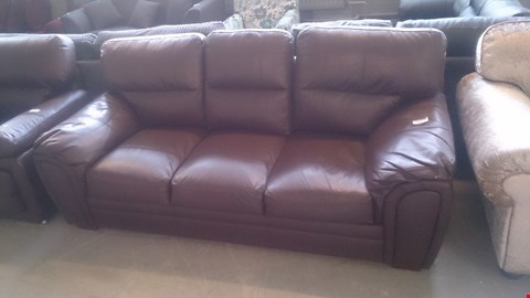 Lot 637 DESIGNER BROWN LEATHER 3 SEATER SOFA