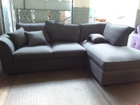 Lot 45 DESIGNER CHARCOAL FABRIC CHAISE SOFA WITH SCATTER CUSHIONS
