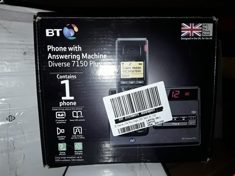 Lot 710 2 ITEMS TO INCLUDE BT DIVERSE 7150 PLUS SINGLE PHONE WITH ANSWERING MACHINE AND GLASS MIRRORED JEWELLERY BOX RRP £108