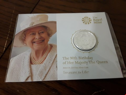 Lot 9156 2016 UK £20 FINE SILVER COIN CELEBRATING THE QUEENS 90TH BIRTHDAY