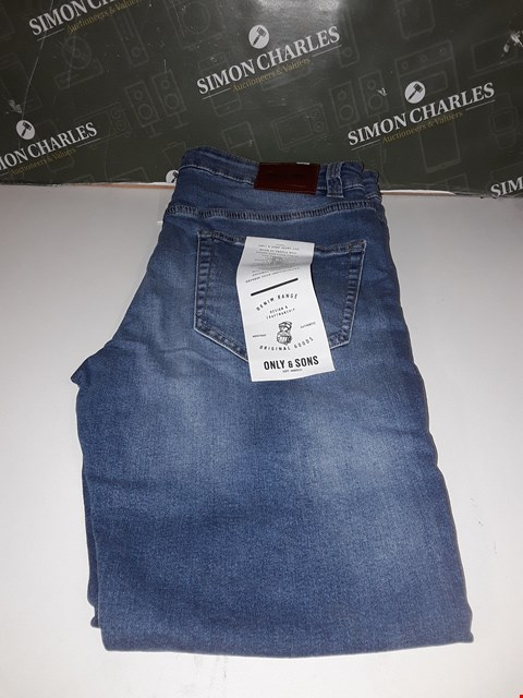 Lot 12162 BRAND NEW ONLY & SONS DENIM RANGE BLUE SLIM JEANS SIZE 34