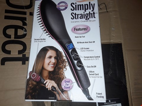 Lot 2662 BOX OF APPROXIMATELY 30 BRAND NEW SIMPLY STRAIGHT HEATED CERAMIC BRUSH