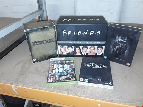 Lot 4146 JOB LOT OF ASSORTED CD/DVD BOXSETS , BOOKS AND GAMES TO INCLUDE LORD OF THE RINGS, FRIENDS, GTA(4 BOXES)