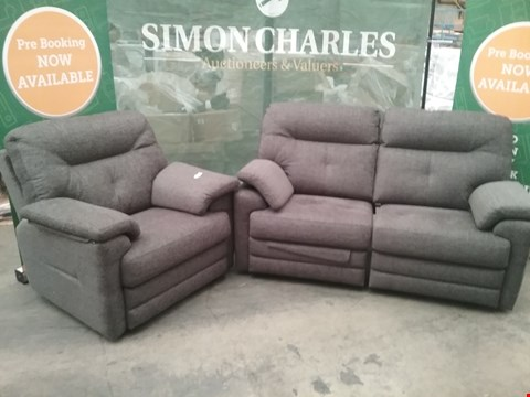 Lot 12 QUALITY BRITISH MADE HARDWOOD FRAMED GREY FABRIC RECLINING 2 SEATER SOFA AND FIXED ARM CHAIR