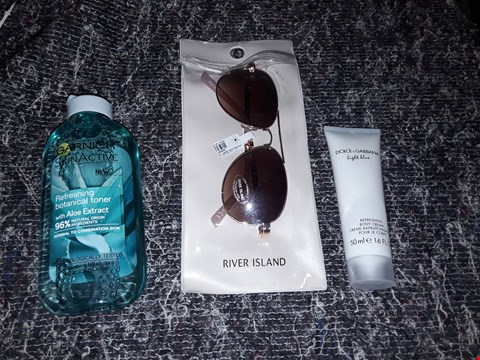 Lot 7377 BOX OF APPROXIMATELY 26 ASSORTED ITEMS TO INCLUDE RIVER ISLAND SUNGLASSES, GARNIER BOTANICAL TONER AND DOLCE & GABBANA BODY CREAM ECT  RRP £520