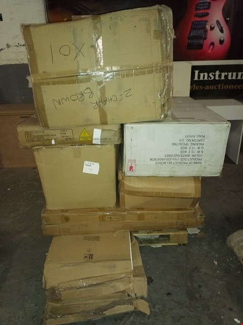 Lot 17095 PALLET OF ASSORTED FLAT PACK FURNITURE PARTS TO INCLUDE BED FRAMES, TABLE AND SUITCASE