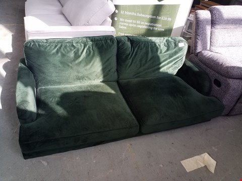 Lot 92 DESIGNER GREEN FABRIC TWO SEATER SOFA