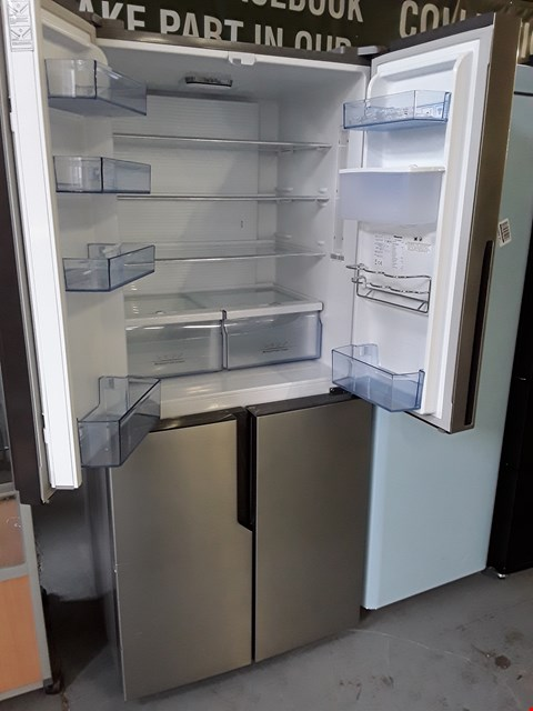 Lot 1 HISENSE RQ560N4WC179CM WIDE TOTAL NON FROST AMERICAN STYLE MULTI-DOOR FRIDGE FREEZER WITH WATER DISPENSER - STAINLESS STEEL LOOK RRP £730.00