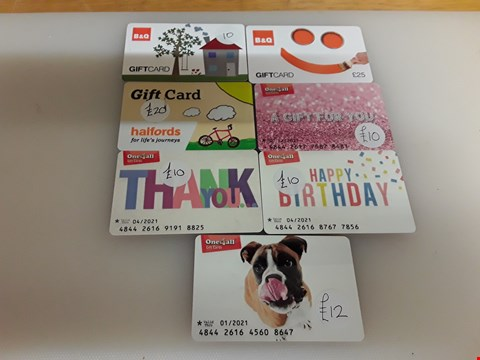 Lot 42 7 ASSORTED GIFT CARDS TO INCLUDE B&Q HALFORDS AND ONE 4 ALL TOTAL VALUE £97