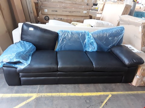 Lot 1011 DESIGNER 3 SEATER BLACK FAUX LEATHER SOFA (MISSING BACK PIECE)