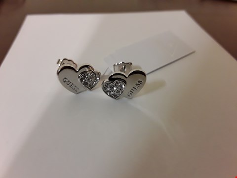 Lot 9008 BOXED GUESS STYLE CRYSTAL AND SILVER LOOK 2 HEART EARRINGS