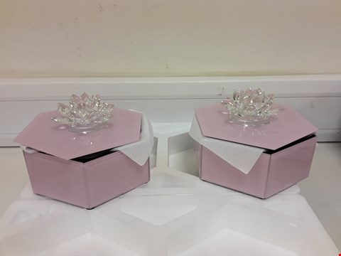 Lot 607 JULIEN MACDONALD SET OF 2 CRYTAL LOTUS FLOWER PINK TRINKET BOXES