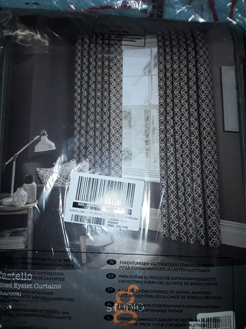 Lot 7165 BRAND NEW CASTELLO LINED EYELET CURTAINS 90 X 90 RRP £240.00