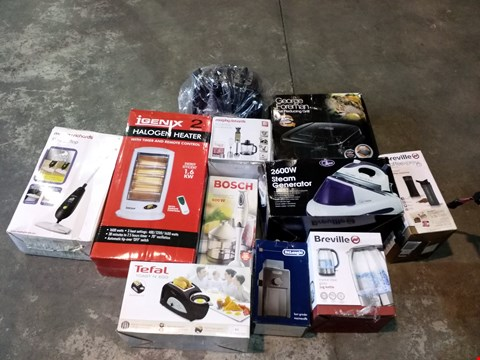 Lot 8104 CAGE OF ASSORTED PRODUCTS TO INCLUDE IGENIX HALOGEN HEATER, BREVILLE COFFEE EXPRESS, RUSSELL HOBBS TOASTER, BOSCH 600W HAND MIXER, TOWER TOASTER, TEFAL TOAST N EGG, GEORGE FOREMAN GRILL ETC