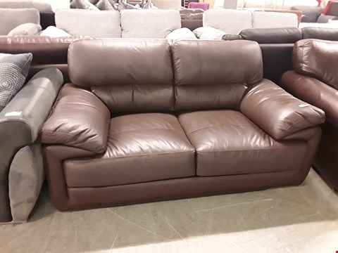 Lot 356 DESIGNER BROWN FAUX LEATHER 2 SEATER SOFA