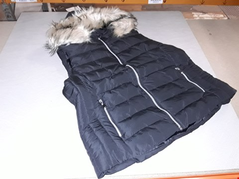Lot 3058 LOT OF 5 PADDED FUR TRIMMED GILETS IN BLACK - VARIOUS SIZES