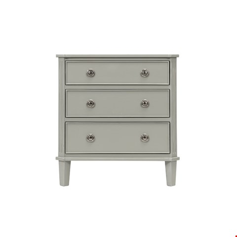 Lot 3015 CONTEMPORARY DESIGNER BOXED ABELLA 3 DRAWER CHEST IN A HAZE FINISH  RRP £539.00