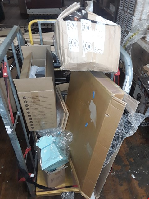 Lot 8362 CAGE OF ASSORTED HOUSEHOLD ITEMS TO INCLUDE PHOTO FRAMES, MAX KARE FOOT SPA MASSAGER AND BOX OF ASSORTED PLASTIC CONTAINERS