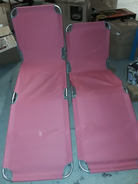 Lot 7722 2X BRIGHTON SUNLOUNGERS - PINK  RRP £29.99