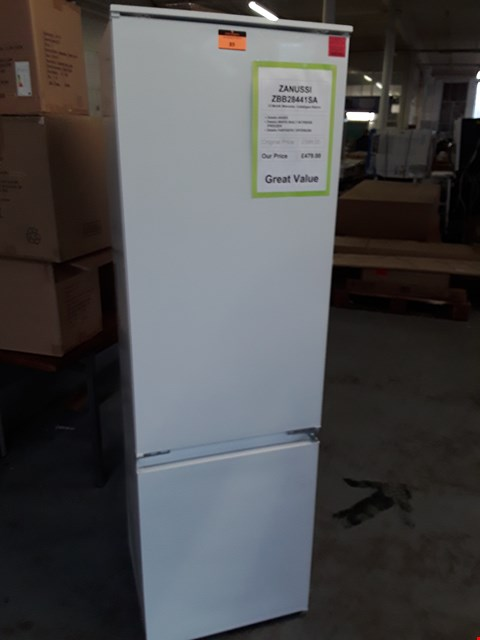 Lot 89 ZANUSSI WHITE INTEGRATED FRIDGE FREEZER