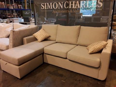 Lot 9006 QUALITY BRITISH DESIGNER NATURAL FABRIC CHAISE SOFA BED WITH STORAGE CHAISE STOOL