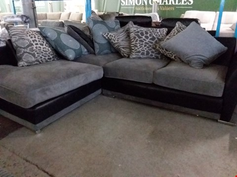 Lot 51 DESIGNER GREY FABRIC AND BLACK FAUX LEATHER CORNER SUITE WITH SCATTER CUSHIONS