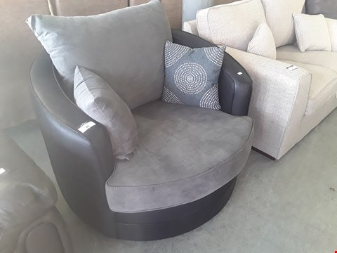 Lot 80 DESIGNER BLACK FAUX LEATHER & GREY FABRIC SWIVEL SNUGGLE CHAIR
