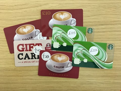 Lot 15 6 FOOD AND DRINK VOUCHERS, INCLUDING TOBY CARVERY, COSTA AND STARBUCKS.  TOTAL VALUE £123