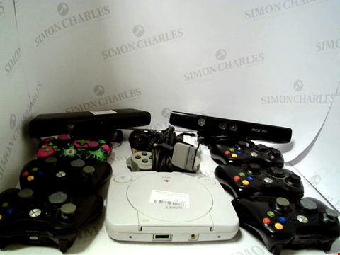 Lot 721 BOX OF APPROXIMATELY 19 ASSORTED ITEMS TO INCLUDE CONSOLES, GAME CONTROLLERS ETC