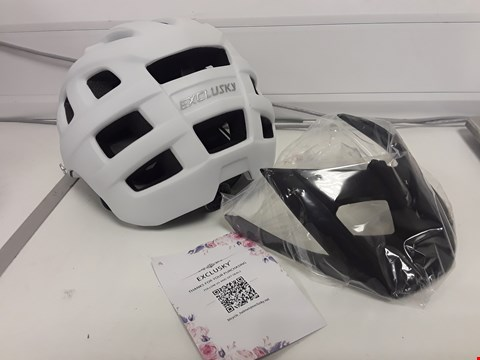 Lot 80 EXCLUSKY WHITE CYCLE HELMET WITH PEAK NO SIZE SPECIFIED