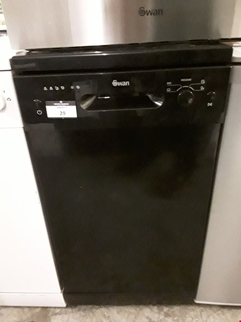 Lot 29 SWAN FREESTANDING SLIMLINE DISHWASHER IN BLACK