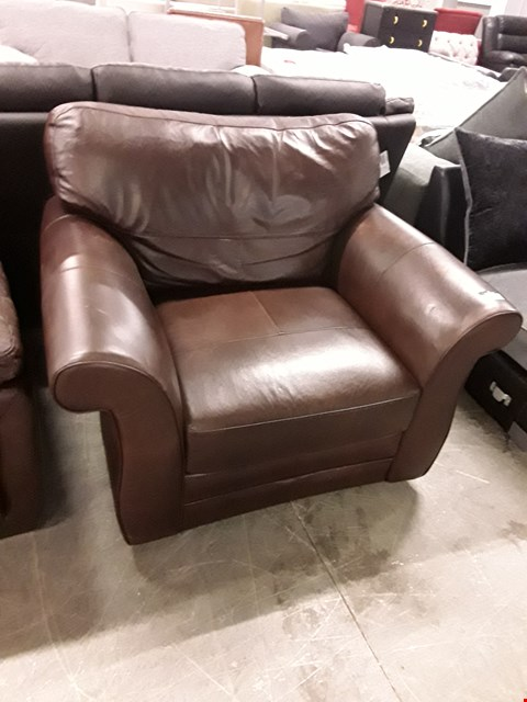 Lot 355 DESIGNER BROWN LEATHER ARMCHAIR