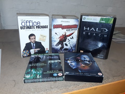 Lot 4151 JOB LOT OF ASSORTED CD/DVD BOXSETS , BOOKS AND GAMES TO INCLUDE THE OFFICE,  THE MATRIX,  HALO(4 BOXES)