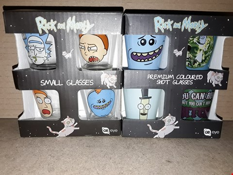 Lot 189 BOXED BRAND NEW RICK AND MORTY PREMIUM COLOURED SHOT GLASSES AND SMALL GLASSES