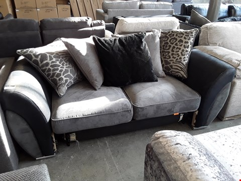 Lot 33 DESIGNER BLACK FAUX LEATHER AND GREY FABRIC METAL ACTION 2 SEATER SOFA BED WITH SCATTER BACK CUSHIONS