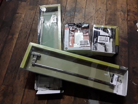 Lot 1754 FIVE HACEKA BATHROOM ITEMS TOILET ROLL HOLDER, 2 × SOAP DISPENCERS, GLASS SHELF & TOWEL RAIL RRP £199