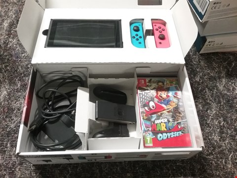Lot 7062 NINTENDO SWITCH NEON RED/BLUE CONSOLE WITH SUPER MARIO ODYSSEY GAME RRP £419.99