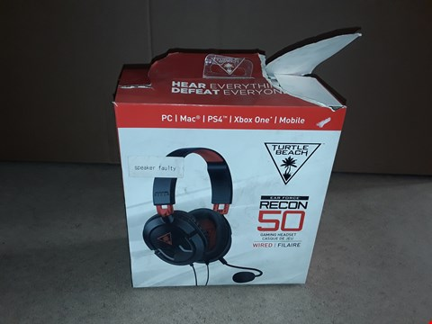 Lot 2193 BOXED TURTLE BEACH EARFORCE RECON 50 GAMING HEADSET FOR PC (FAULTY)