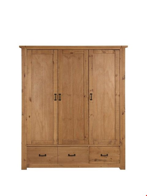 Lot 7140 BRAND NEW BOXED ALBION 3-DOOR 3-DRAWER SOLID PINE WARDROBE (3 BOXES) RRP £449.00