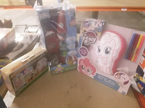 Lot 320 3 ASSORTED PRODUCTS TO INCLUDE; MY LITTLE PONY COLOUR YOUR OWN CUSHION, BEN AND HOLLY ELF ROCKET AND SYLVANIAN FAMILIES SEASIDE CAMPING SET