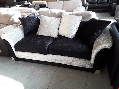 Lot 69 DESIGNER TWO TONE BLACK AND SILVER CRUSHED VELVET 2 SEATER SOFA WITH SCATTER BACK CUSHIONS