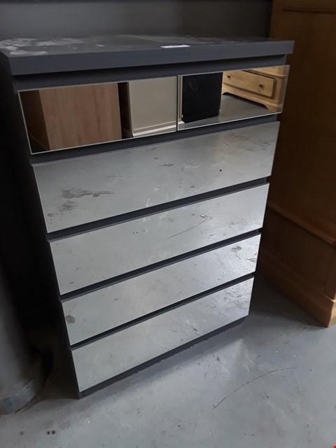Lot 93 DESIGNER PRAGUE GREY MIRRORED 2 OVER 4 DRAWER CHEST