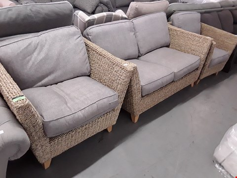 Lot 173 QUALITY BRITISH DESIGNER NATURAL WOVEN RATTAN SUITE WITH GREY CUSHIONS, COMPRISING, TWO SEATER DOFA & PAIR EASY CHAIRS
