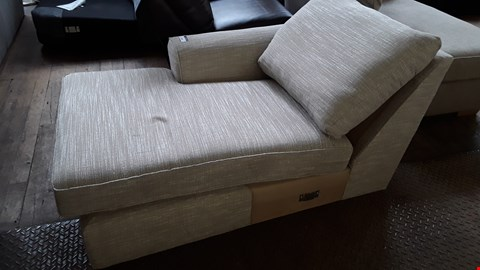 Lot 356 BEIGE FABRIC CHAISE SOFA SECTION