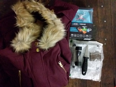 Lot 2594 BOX OF APPROXIMATELY 16 ASSORTED ITEMS TO INCLUDE 16 PIECE DRILL-ALL DRILL BIT SET, HOODED DIP BACK LINED PARKA JACKET, RC NANO DRONE