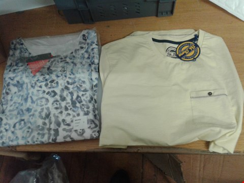 Lot 38 A BOX OF APPROXIMATELY 7 ASSORTED CLOTHING ITEMS TO INCLUDE A PALE YELLOW XL SHIRT AND A LADIES PRINT TOP