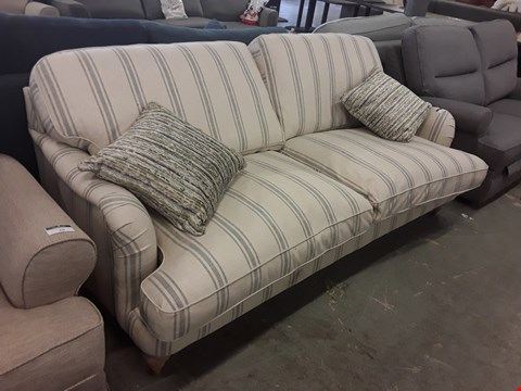 Lot 9 QUALITY BRITISH DESIGNER SLATE DEVLIN STRIPE FABRIC ROCHESTER 3 SEATER SOFA