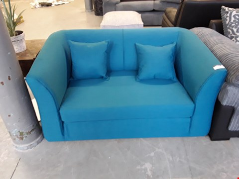 Lot 15 DESIGNER TEAL FABRIC KENSTER FOLD OUT SOFA BED RRP £379.00